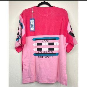 Vintage 80s Pink Cotton Tee Brittsport NWT Medium